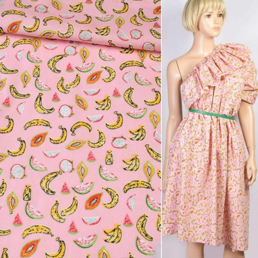 Коттон розовый в разноцветные банан, арбуз, ш.147