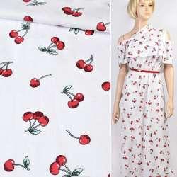 Коттон белый в красные вишни, ш.147