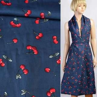 Коттон синий в красные вишни, ш.145