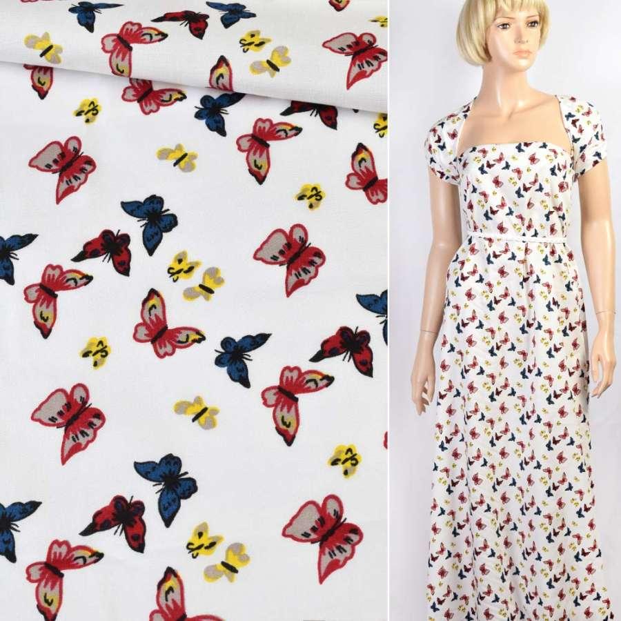 Коттон белый в красные, синие, желтые бабочки, ш.145