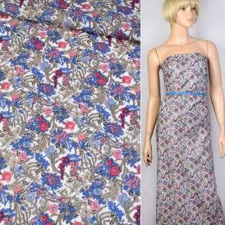 Коттон белый в сине-красно-бежевые цветы ш.140