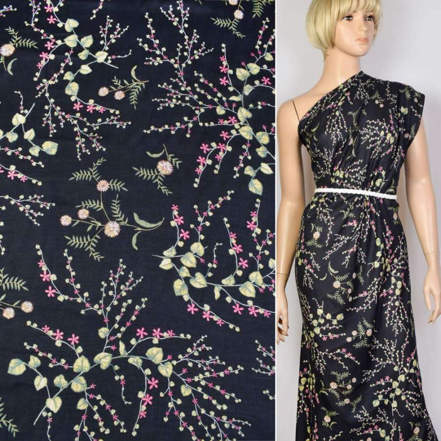 Коттон черный в бело-зелено-розовый цветок ш.150
