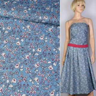 Коттон синий в белый цветок ш.150