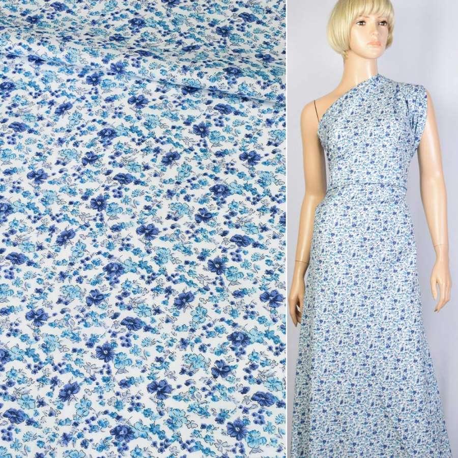 Коттон белый в синий цветок ш.150