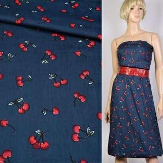 Коттон синий в красные вишни ш.147