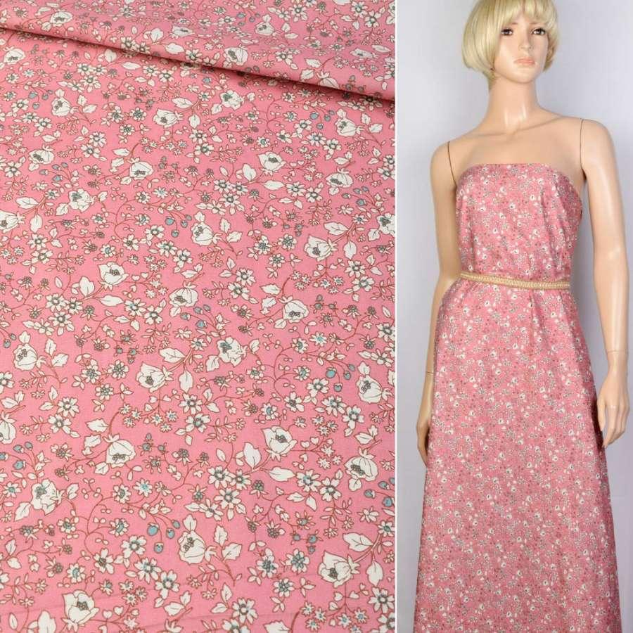Коттон розовый в бело-зеленый цветок ш.145