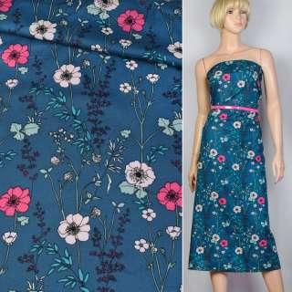 Коттон синий в розово-синие цветы ш.140