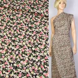Коттон черный в зелено-розово-бежевый цветок ш.145