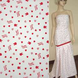 Коттон белый с красными сердечками Sweet Candy ш.140