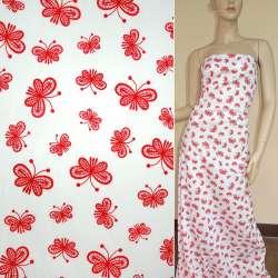 Коттон белый с красными бабочками ш.140