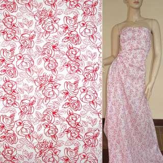 Коттон белый с красными розами ш.150
