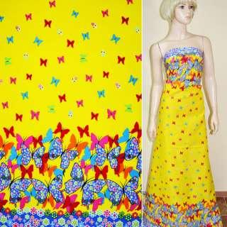 Коттон желтый с двухсторонним голубым купоном в бабочки ш.146
