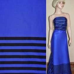 Коттон светло-синий,двухсторонний купон черная полоска ш.145