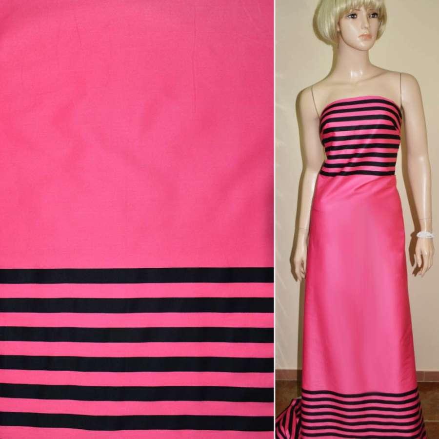 Коттон розовый,двухсторонний купон черная полоска ш.145