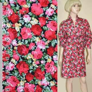 Коттон черный с розово красными розами ш.148
