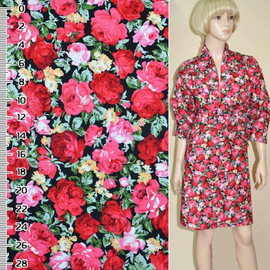 Коттон черный с розово-красными розами ш.148