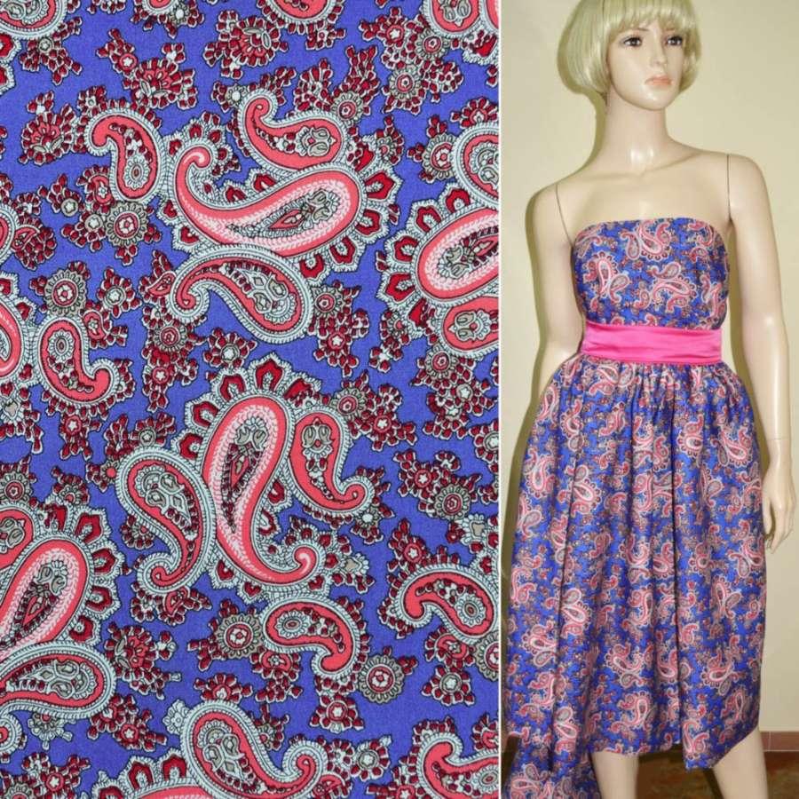 Коттон светло-синий с розовыми огурцами ш.145