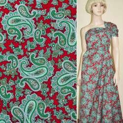 Коттон красный с зелеными огурцами ш.146