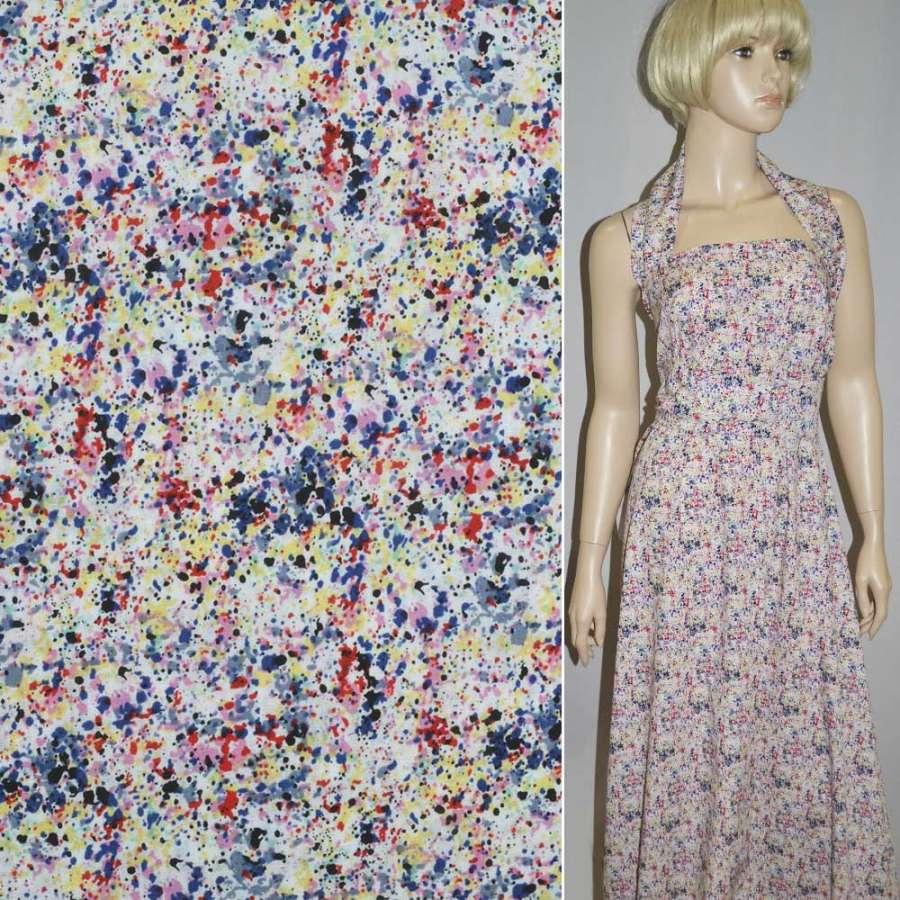 Коттон белый с мелкими разноцветными цветочками ш.148
