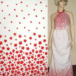 Коттон молочный,двухсторонний купон красные цветы ш.145