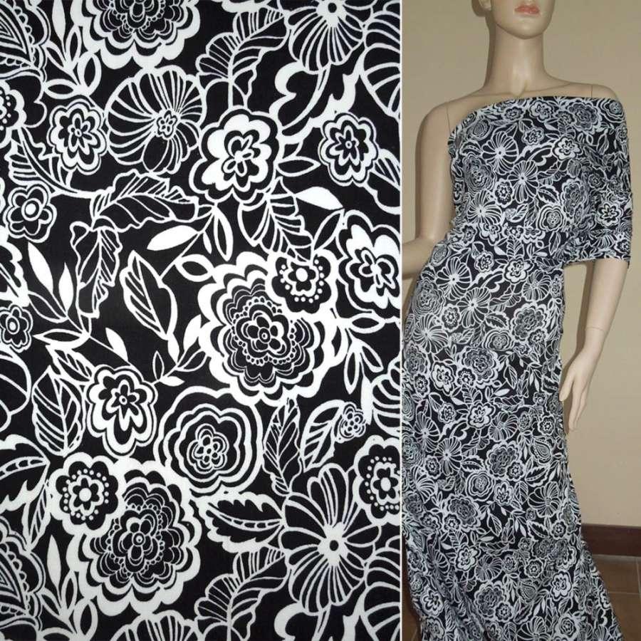 Котон стрейч чорний з білими квітами ш.130
