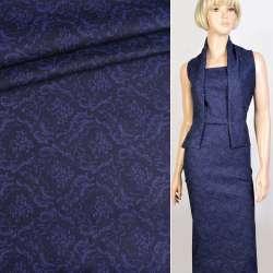 Коттон стрейч синий темный в синий цветочный узор, ш.160