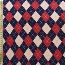 Коттон с ворсом красно-бело-синие ромбы, ш.150
