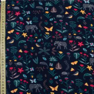 Коттон с ворсом синий темный, слоны, яркие цветы, листья, ш.150