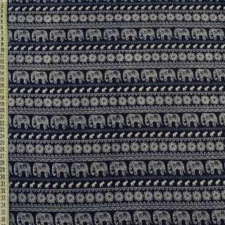 Коттон с ворсом синий в бежевый орнамент, слоны, ш.150