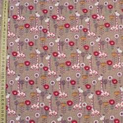 Коттон с ворсом бежевый, красно-белые жирафы и цветы, ш.145