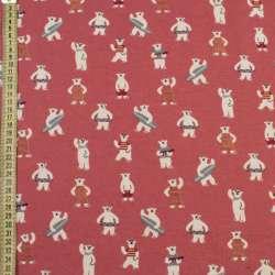 Коттон с ворсом розовый темный, белые медведи на пляже, ш.145