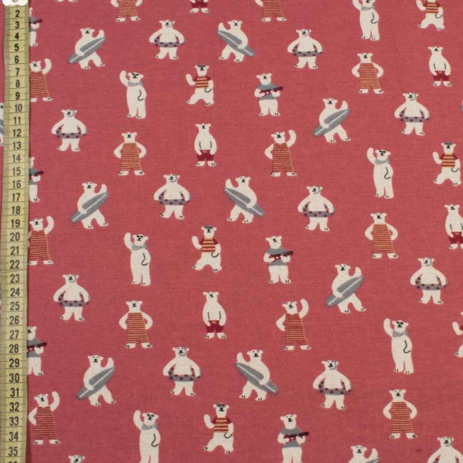 Котон з ворсом рожевий темний, білі ведмеді на пляжі, ш.145
