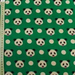 Коттон с ворсом зеленый, мишки панды, ш.145
