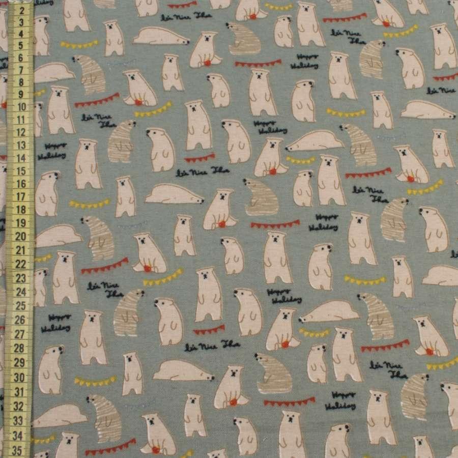 Коттон с ворсом бирюзово-серый, белые медведи, ш.150