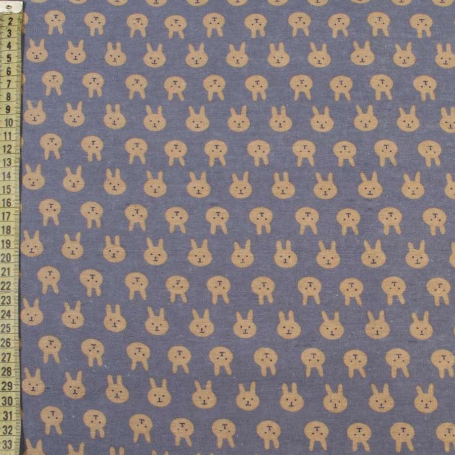 Коттон с ворсом сиренево-серый, бежевые зайки, ш.150