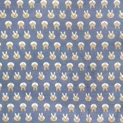 Коттон с ворсом сиренево-серый, бело-бежевые зайки, ш.150