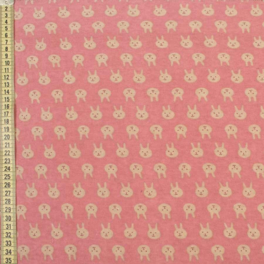 Коттон с ворсом розовый, бежевые зайки, ш.150