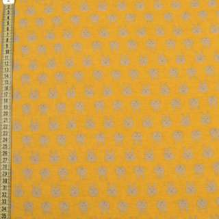 Коттон с ворсом желтый, бежевые зайки, ш.150