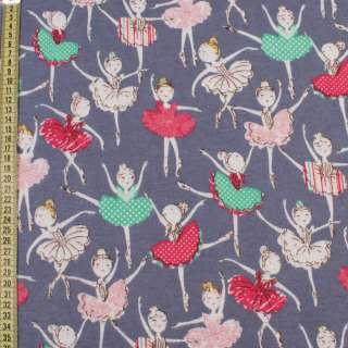 Коттон с ворсом сине-серый, разноцветные балерины, ш.145