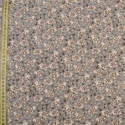 Коттон с ворсом серый темный, белые зайки в цветочек, ш.145