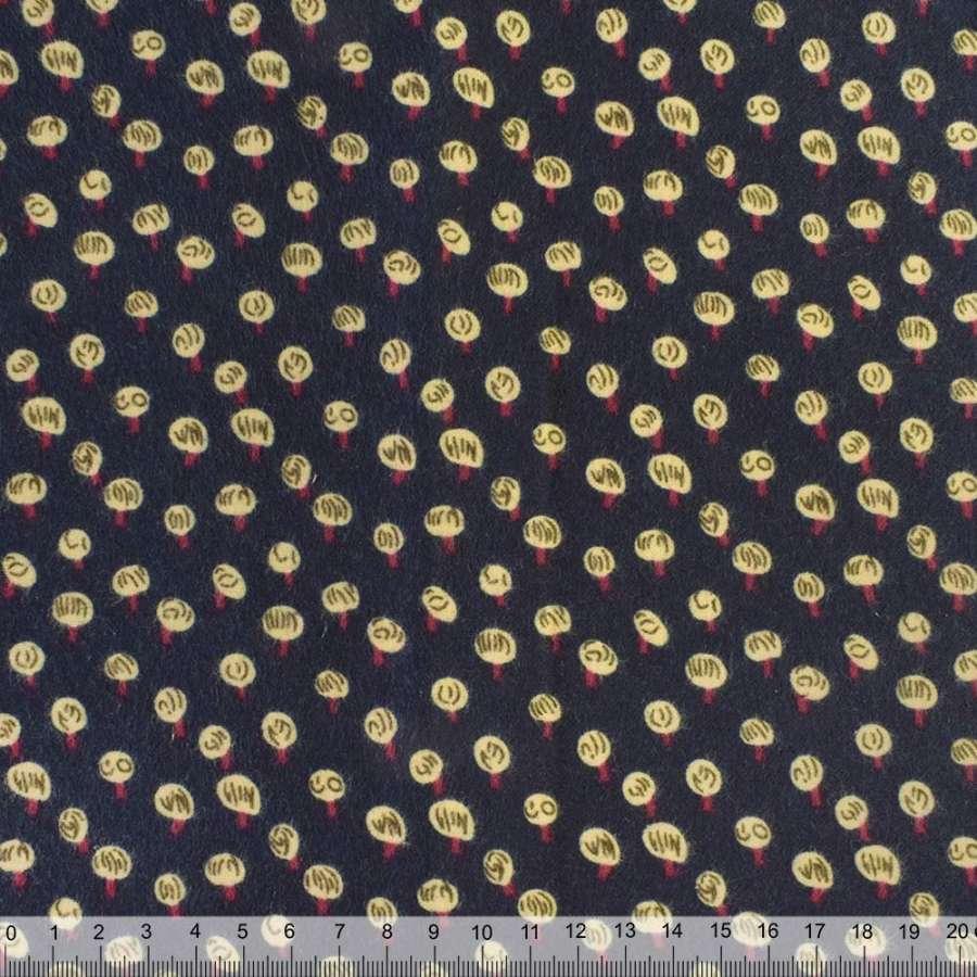 Коттон с ворсом синий темный в молочно-бордовый горох ш.140