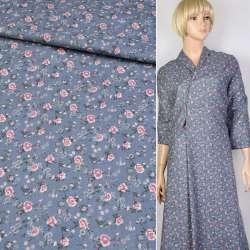 Коттон с ворсом серо-голубой в розово-зеленый цветок ш.140
