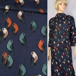 Коттон с ворсом синий с попугаями ш.140