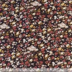 Коттон с ворсом коричневый в коричнево-бело-желтый цветок ш.145