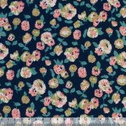 Коттон с ворсом синий в разноцветные цветы ш.140