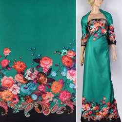 Атлас купон плотный черно-зеленый принт в яркие цветы ш.148