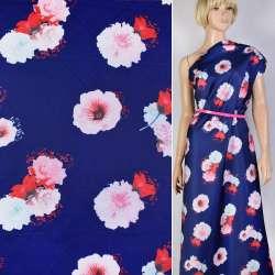 Атлас купон плотный синий принт в бело-розовые цветы ш.147