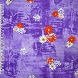Коттон стрейч фиолетовый с ромашками и джинсовыми карманами, ш.150