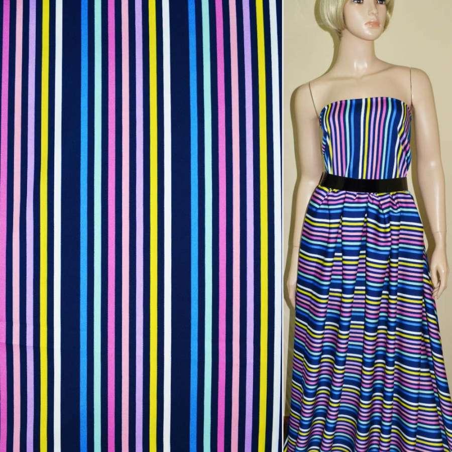 Атлас-коттон стрейч темно-синий в разноцветные полоски ш.145