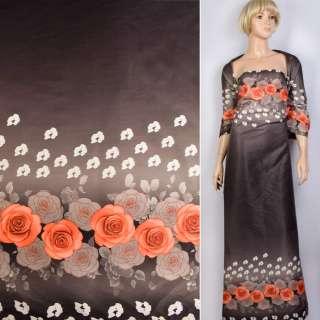 Коттон атлас купон серый в красные, белые цветы ш.130